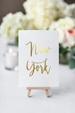 personalised table names gold foil table numbers PER CARD in aura font