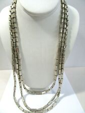 COLDWATER CREEK BAR AND BALL SILVER TONE TRIPLE STRAND NECKLACE CONTEMPORARY