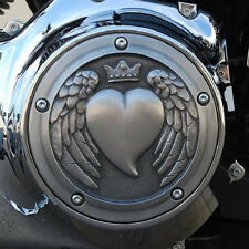 Angel wing heart derby cover in aged aluminum.  Harley Twin Cam models. DCHA-1