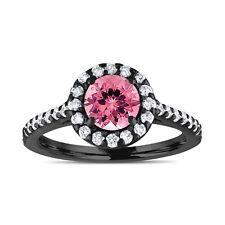 1.54 Carat Pink Tourmaline Engagement Ring With Diamonds 14K Black Gold Handmade