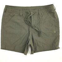 The North Face Nylon Green Shorts Womens Size 10 Khaki Drawstring Hiking Outdoor
