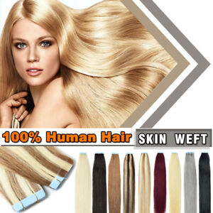 """CLEARANCE Tape in Soft Remy Human Hair Extensions Full Head Skin Weft 10-24"""" rrr"""