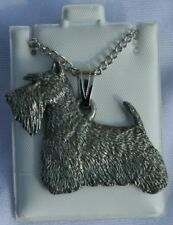 Scottish Terrier Dog Harris Fine Pewter Pendant w Chain Necklace USA Made