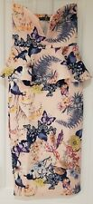 Womens Boohoo strapless peplum scuba dress pale pink and floral size 8 brand new