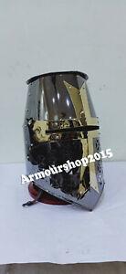 Medieval Knight Armor Crusader New Templar Helmet Helm with Brass Cross