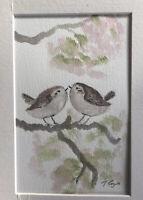 Little Wrens On Blossom, Watercolour Signed Original Art, Vintage, Cottage, Gift
