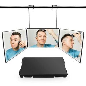 360° Spiegel Barber Tragbar Mit verstellbaren Höhenhaltern 3 Way Trifold Mirror