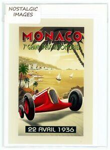 Nostalgic 1936 Monaco Grand Prix greeting card. Hand made, blank inside