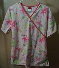Disney S white Tinkerbell print v neck short sleeve scrub top good shape