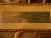 """Antique Frame Gold Landscape Print Hand Colored Photo ? Framed 26.5"""" x 11.5"""""""