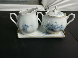 Napco China Hand Painted Creamer & Sugar Blue Floral On Plate C-5418 Japan Gold