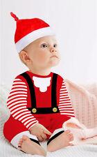 2 pz Neonato Bambino Bambini Natale Tutina body bebè Tuta intera+Cappello
