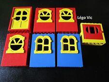 Lego Fabuland 3669 5 fenêtres Window x637 x636  + 2 Door x610 avec Stickers rare