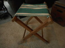 Vintage Camping Fishing Folding Stool Canvas Chair Lodge Cabin Country Decor