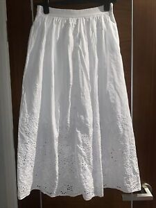 TED BAKER Greycie white  embroidered midi skirt party Size 1 Uk 8