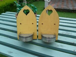 Pair Of  Wooden Arched StyleGarden Candle Sconcers / Holders