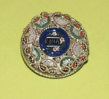 Vintage ~ 1920's MICRO MOSAIC Glass TILE Round BROOCH ~ Rome SOUVENIR Italy