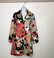 Alli Y Mod Floral Shirt Dress Button Up Long Sleeve USA Office Work Career