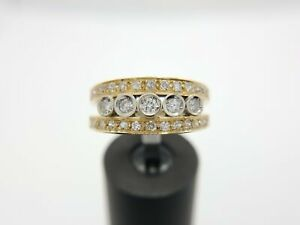 18k Yellow Gold Natural Single Cut Diamond Ring Band 3/4 ct