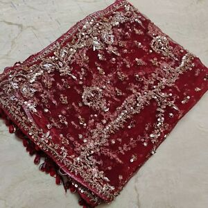 Antique Indian Bridal Wedding Dupatta Scarf Heavy Zardozi Beaded Net Veil Stole
