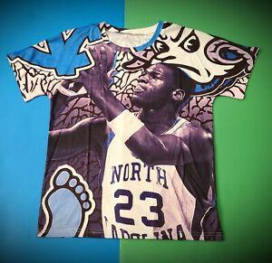 North Carolina Tar Heels Michael Jordan All Over Graphic Print T-Shirt Size M