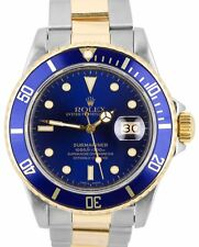 Rolex Submariner Date 16803 Two-Tone Gold Stainless Blue 40mm Dive Watch 16613