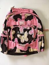 Pottery Barn Kids Small BUTTERFLY Backpack girls PINK YELLOW Chocolate  *Audrey