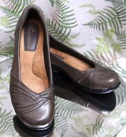 EARTH ORIGINS BROWN LEATHER LOAFERS SLIP ON BUSINESS DRESS SHOES WOMENS SZ 6.5 M