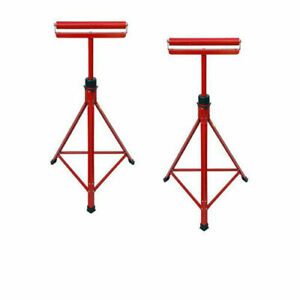 """2x Metal Roller Stands Woodworking Rest Sturdy Stands Adjustable 27""""-47"""""""