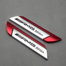 Pair Chrome With Red Metal AMG Edition Door Fender Emblem Badge 3D Sticker Decal
