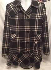 Women's Size M Wool Coat Apt 9 Really Cute Lots Of Details Plaid Black