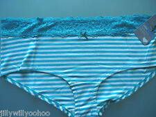 M&S SIZE 20 TURQUOISE STRIPE LOW RISE STRETCH SHORTS BRIEFS TAGGED FREE POSTAGE