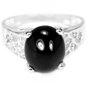 NATURAL AAA BLACK SPINEL 11X9 MM. OVAL CABOCHON STERLING 925 SILVER RING 7.25