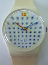 GW104 Swatch - 1985 Dotted Swiss Classic White Swiss Made Authentic