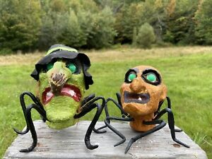 2 Vintage Spider Witches Handpainted Crepe Paper Styrofoam Halloween Decorations