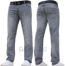 Hommes Crosshatch de marque Moulant Jambe droite Jeans tout Tour Taille Gris clair 44w Standard
