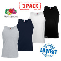 3 PACK MEN'S FRUIT OF THE LOOM ATHLETIC VESTS GYM TRAINING TANK TOP PLAIN COTTON