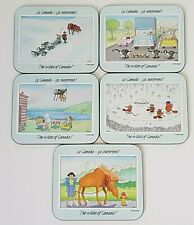 Wilds of Canada Coasters Canadian RCMP Dog Sled Moose Mosquitos Beavers Geese