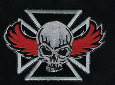 RED WING SKULL IRON CROSS PATCH PIRATE CARIBBEAN RAIDING SKULL US PIN UP USA