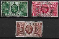 SG453Wi-455Wi. 1935 Silver Jubilee Wmk.Inv.(Ex-Booklets).Set Of 3-VFU. Ref.09126