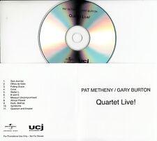 PAT METHENY / GARY BURTON Quartet Live! 2009 UK 11-trk promo test CD