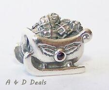 Pandora Genuine Sterling Silver Sleigh Charm with Garnet #790562GA - RETIRED
