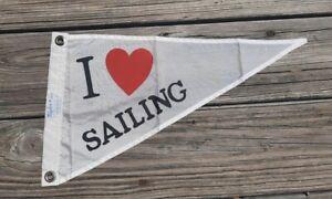 """I Heart/Love Sailing"" Pennant Flag - Taylor Made, Nylon - Boat Yacht Maritime"