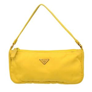 PRADA Nylon Hand Bag Pouch Purse Yellow Italy