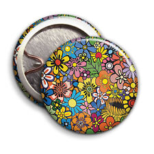 Hippy Floral Print - Button Badge - 25mm 1 inch
