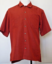 Columbia GRT Sportswear Button-down Viscose Dark Orange Short Sleeve Shirt M