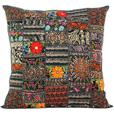 24x24 Black Bohemian Pillow Indian patchwork Cushion Cover Large Throw Pillow