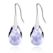 18K White Gold GP Made With Swarovski Crystal Water Drop Purple Dangle Earrings
