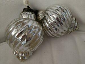 """Pottery Barn 4"""" Silver Mercury Glass Ornament"""