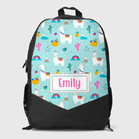 Personalised Llama Alpaca Scene Cute Girls Kids Children's School Bag Backpack